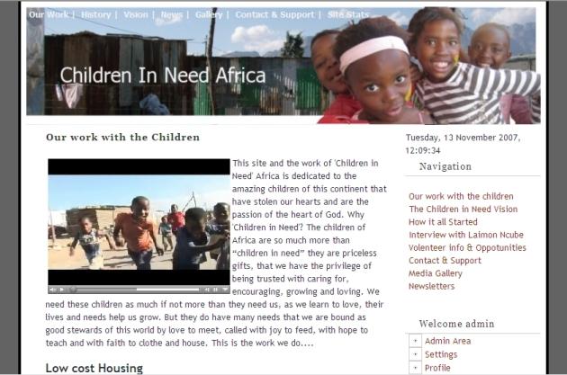 cildren in need africa website